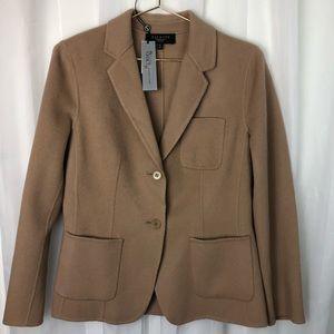NWT Talbots wool pea coat grace fit camel 8 petite